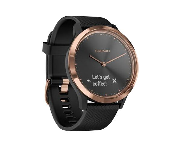 Garmin Vivomove HR Hybrid Rose Gold Watch with Black Band